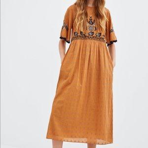 Zara cotton mustard Embroidered midi dress